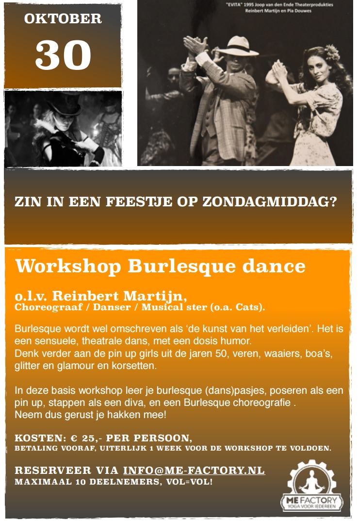 workshop burlesque dance ME Factory yoga emmen