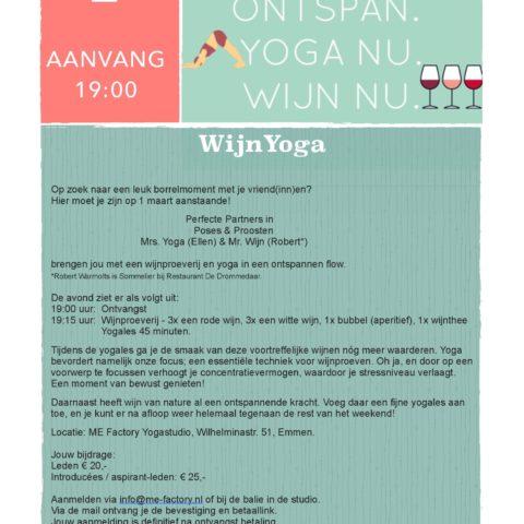 wijn yoga 1 maart workshop yoga emmen me factory