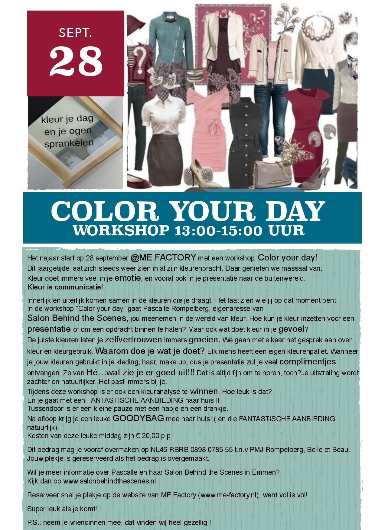 Color Your Day Workshop op 28 september