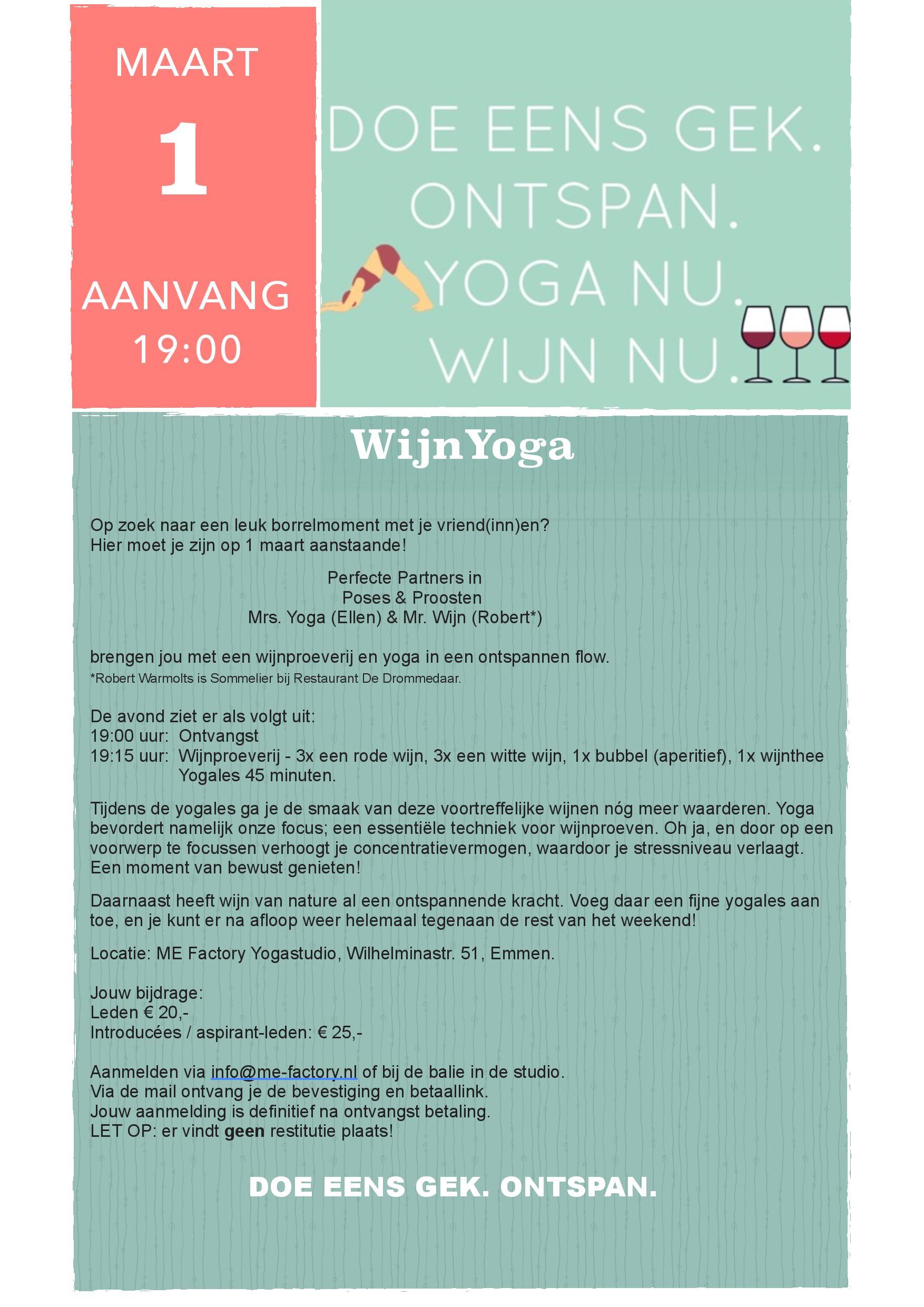 WijnYoga op 1 maart