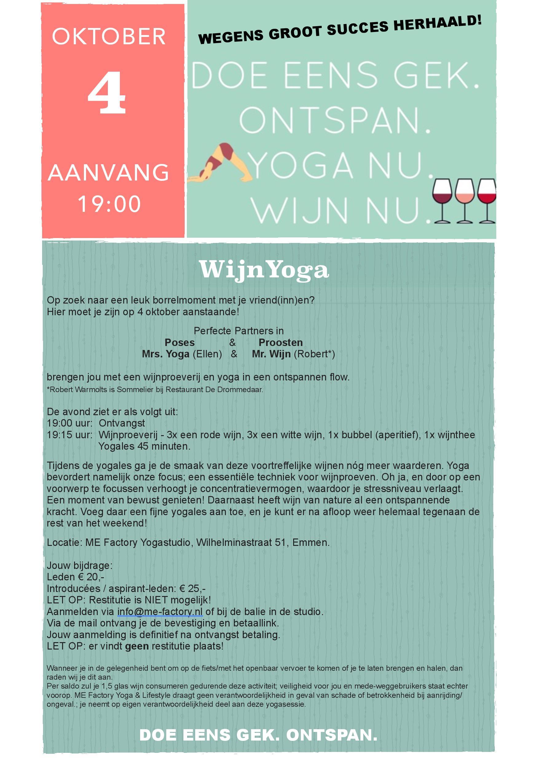 WijnYoga op 4 oktober