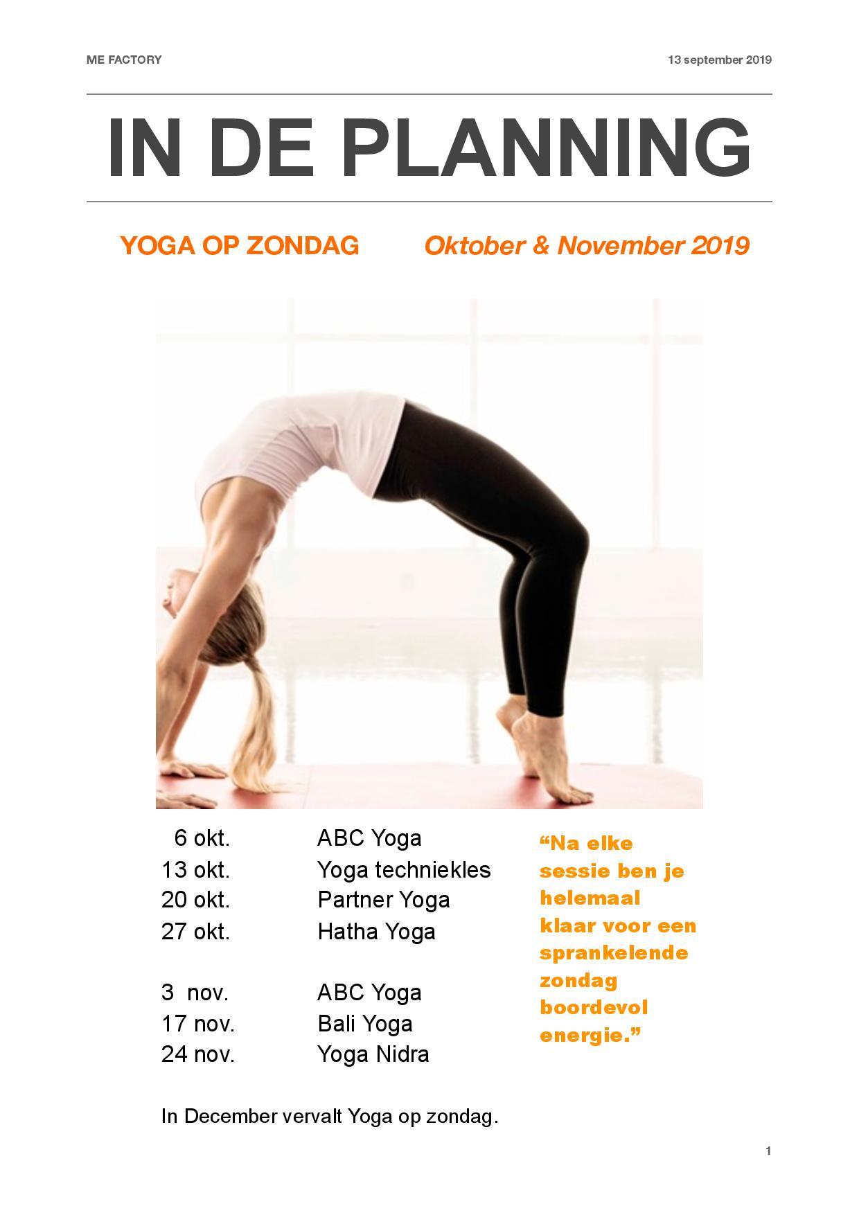 Yoga op zondag in oktober & november